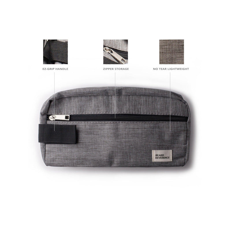 Info graphic of Beard Reverence Large Travel Bag. Shows: Ez-Grip Handle, Zipper Storage, No Tear