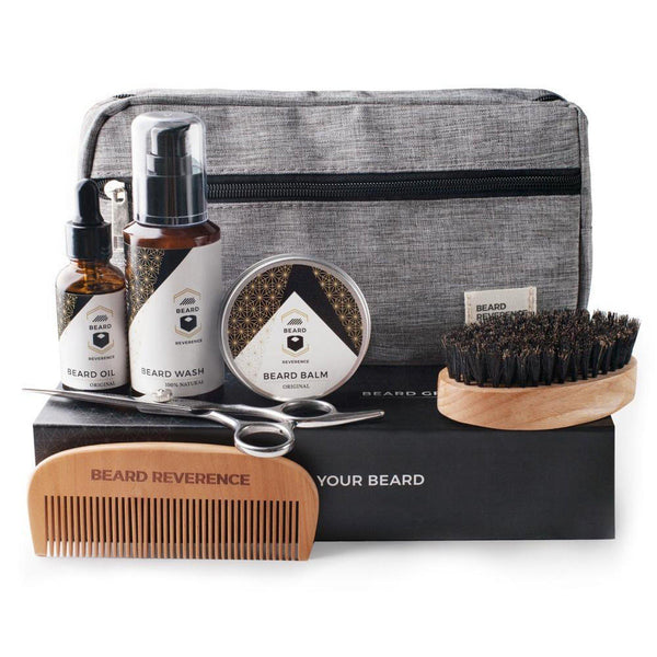 The Ultimate Beard Grooming Kit by Beard Reverence. Includes: oil, balm, beard tools and travel bag.