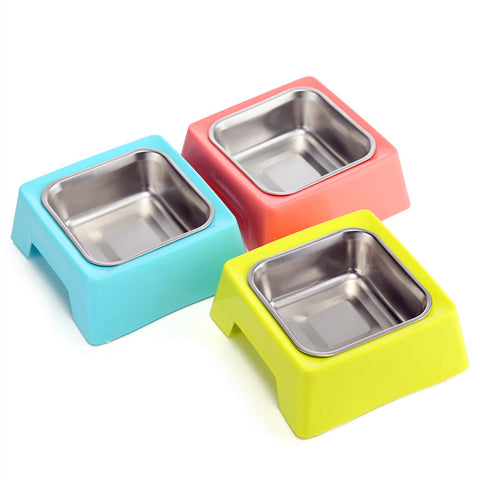 Square Stainless-Steel Pet Bowl