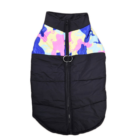 Black and Colorful Camouflage Dog Winter Coat