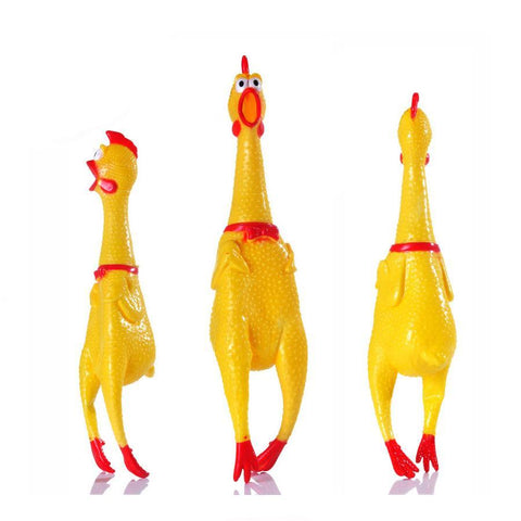 Yellow Screaming Chicken Dog Toy