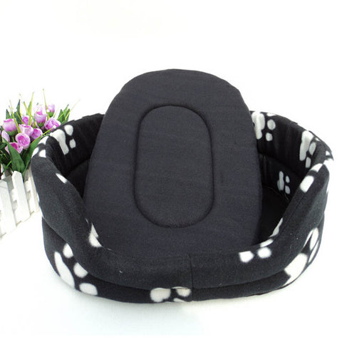 Black Pet Bed with Paw Print