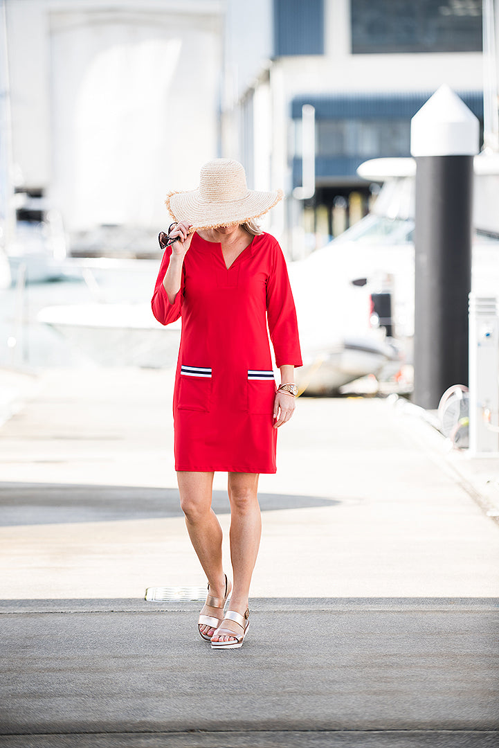 Red Shift Dress - NZ made