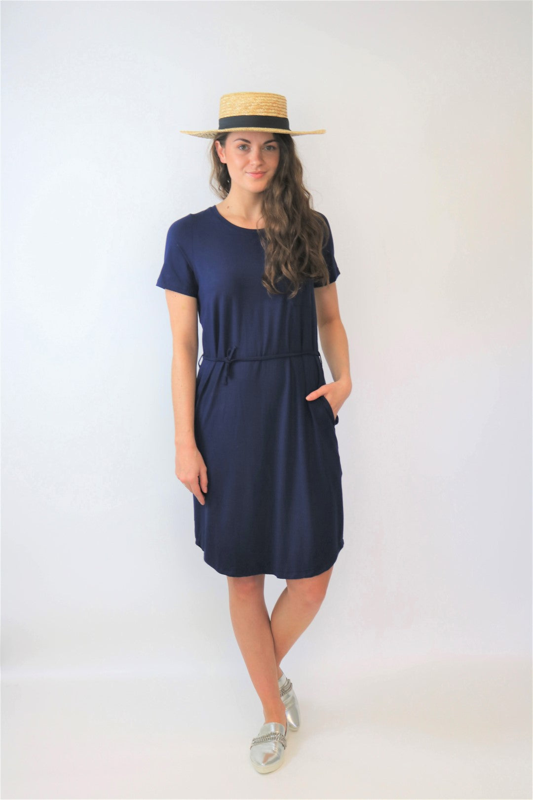 Bamboo Navy T-dress