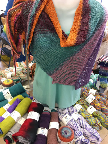 Shawl possibilities using the new Ava Lu gradient yarns.