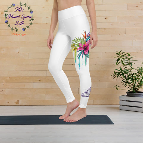 Yoga Leggings - Pink Hibiscus