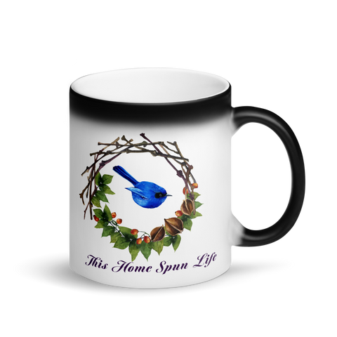 Glossy Black Magic Mug - Bluebird