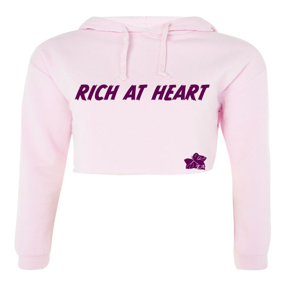 Pale Pink Crop Top Hoodie - Rich At Heart