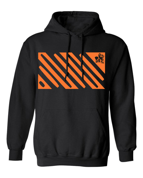 Black Hoodie with Orange Enlightened Design