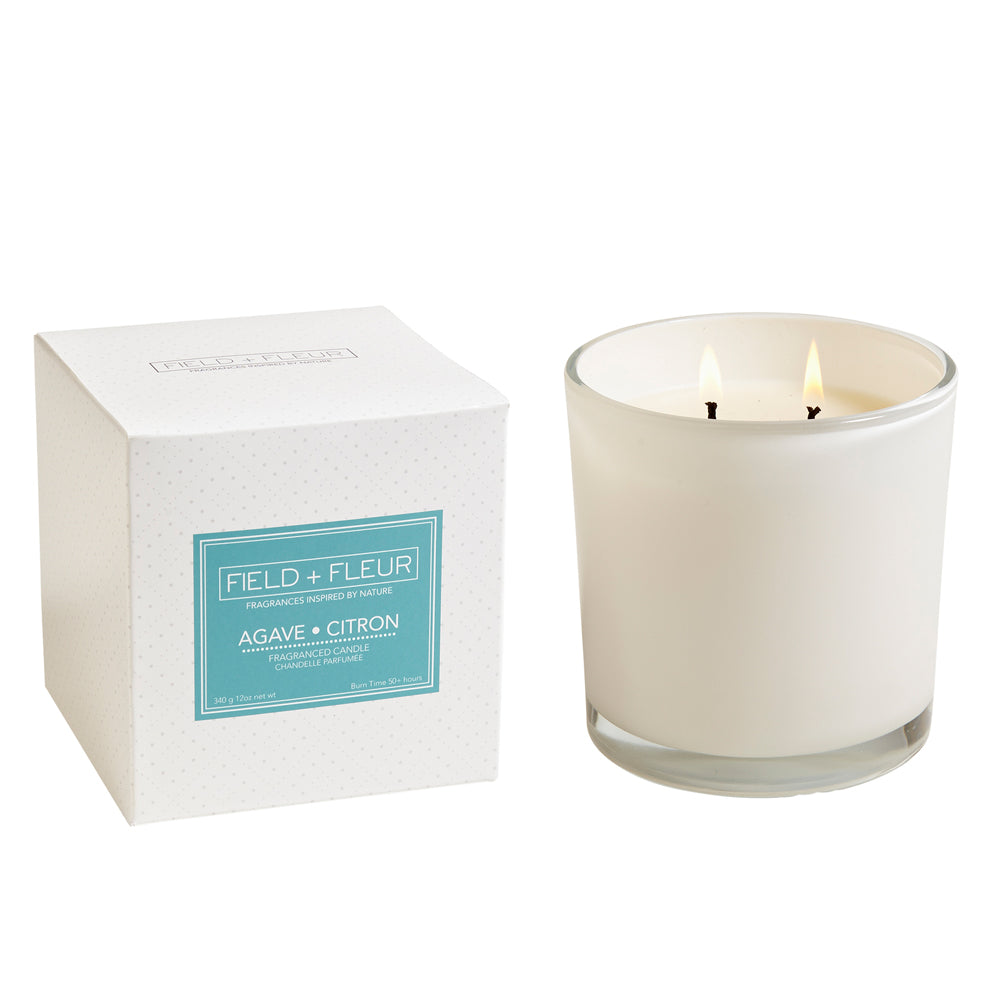 Two Wick Candle in White Glass<br>+Multiple Scents
