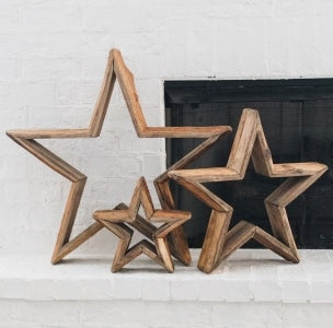 Set of 3 Found reclaimed wood Stars