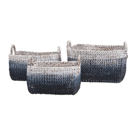 Cascade Blue and White Woven Water Hyacinth Basket  S/3