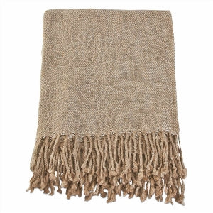 Tag Natural Diamond Weave Fringe Throw