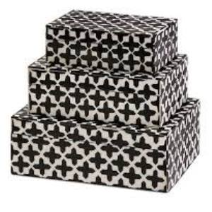 Black and White Bone Inlay Box Medium