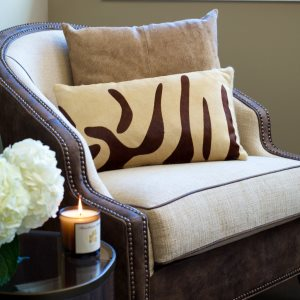 Saddlemans Zebra Brown on Beige Cowhide Pillow, Lumbar