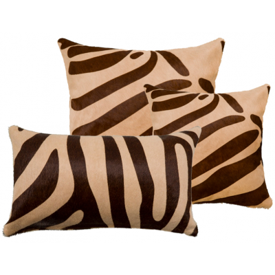 Saddlemans Zebra Brown on Beige Cowhide Pillow, Square