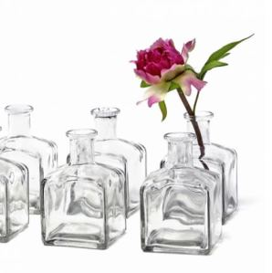 Clear Square Glass Bud Vase