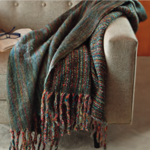 Tag Striped Mohair Fringe Throw