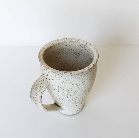 White Speckled Ceramic Tall Mug