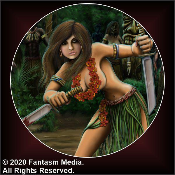 "Coco The Hula Girl 1.5"" Button - Fantasm Media"