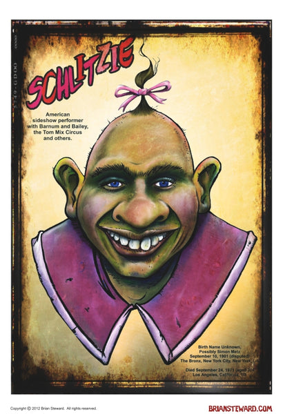 "LIMITED QTY. WAREHOUSE FIND! Brian Steward 11"" x 17"" Poster Print  - Schlitzie - Fantasm Media"