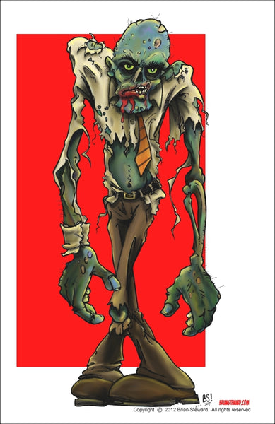 "LIMITED QTY. WAREHOUSE FIND! Brian Steward 11"" x 17"" Poster Print  - Sharp Dressed Zombie - Fantasm Media"