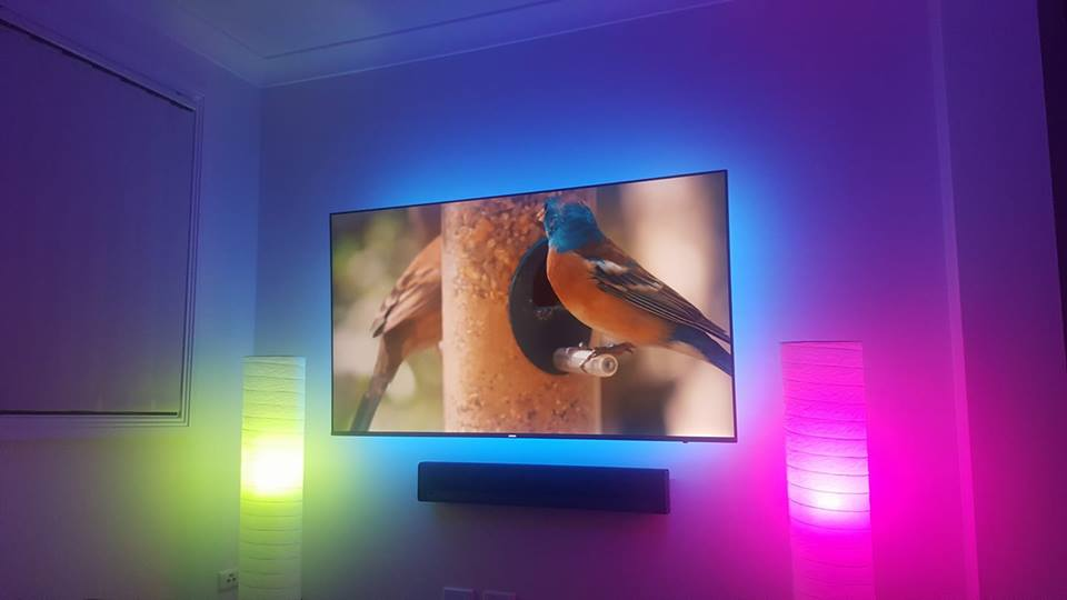 Wall mounted TV with LED lighting