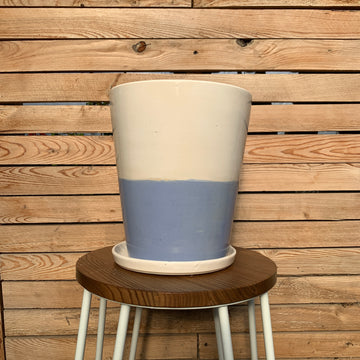 Blue Striped Ceramic Planter