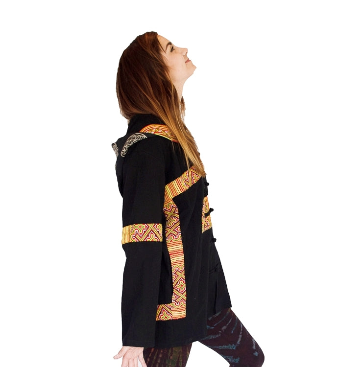 Flower Hmong Tribe - Flower of Life Jacket in Black-The High Thai-The High Thai-Yoga Pants-Harem Pants-Hippie Clothing-San Diego