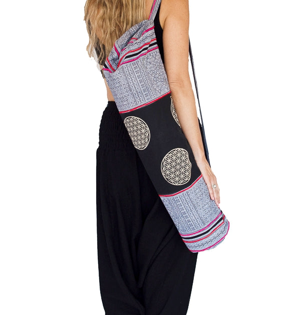 Yoga Mat Bag in Tribal White Flower of Life Design-The High Thai-The High Thai-Yoga Pants-Harem Pants-Hippie Clothing-San Diego