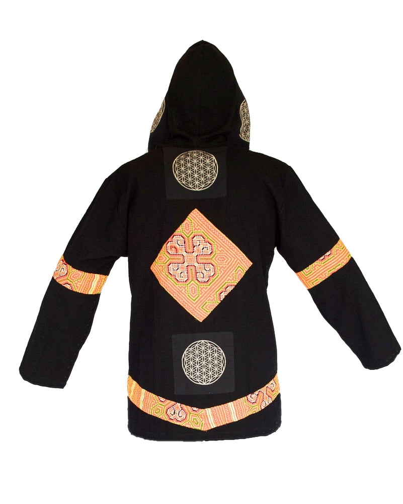 """Flower Hmong"" Tribe - Flower of Life Jacket in Black-The High Thai-The High Thai-Yoga Pants-Harem Pants-Hippie Clothing-San Diego"