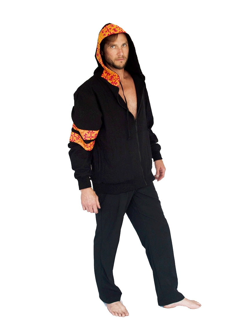 "Limited Edition Reversible ""Black Hmong"" Tribal Hoody-The High Thai-The High Thai-Yoga Pants-Harem Pants-Hippie Clothing-San Diego"