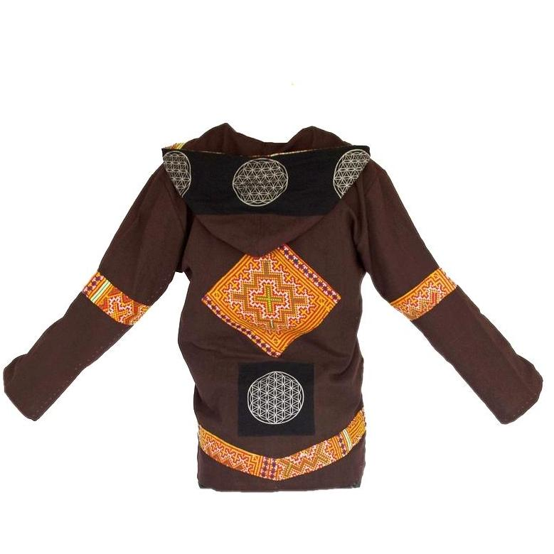 """Flower Hmong"" Tribe - Flower of Life Jacket in Brown-The High Thai-The High Thai-Yoga Pants-Harem Pants-Hippie Clothing-San Diego"