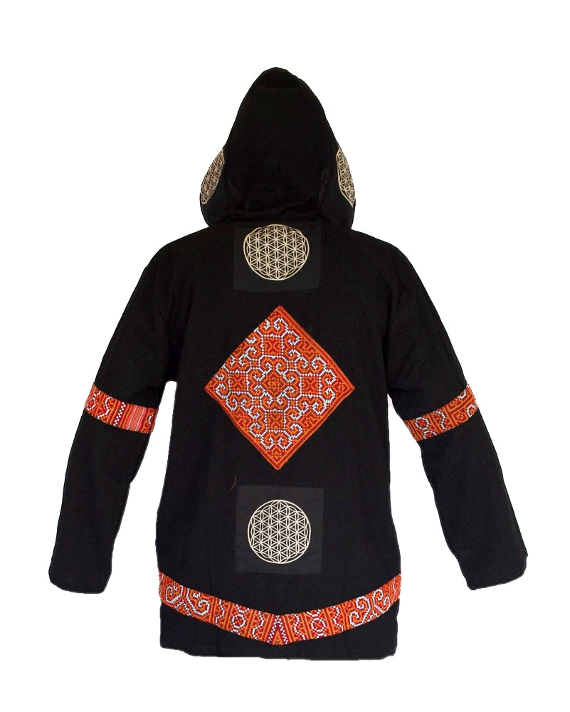 """Black Hmong"" Tribe - Flower of Life Jacket in Black-The High Thai-The High Thai-Yoga Pants-Harem Pants-Hippie Clothing-San Diego"