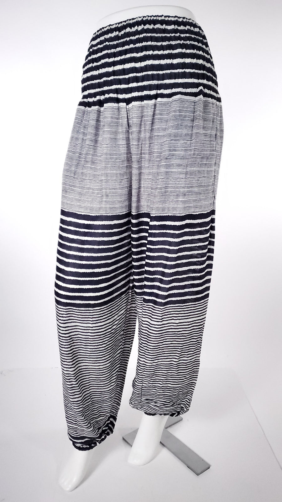 Striped Straight Leg Harem Pants In Dark Blue-The High Thai-The High Thai-Yoga Pants-Harem Pants-Hippie Clothing-San Diego