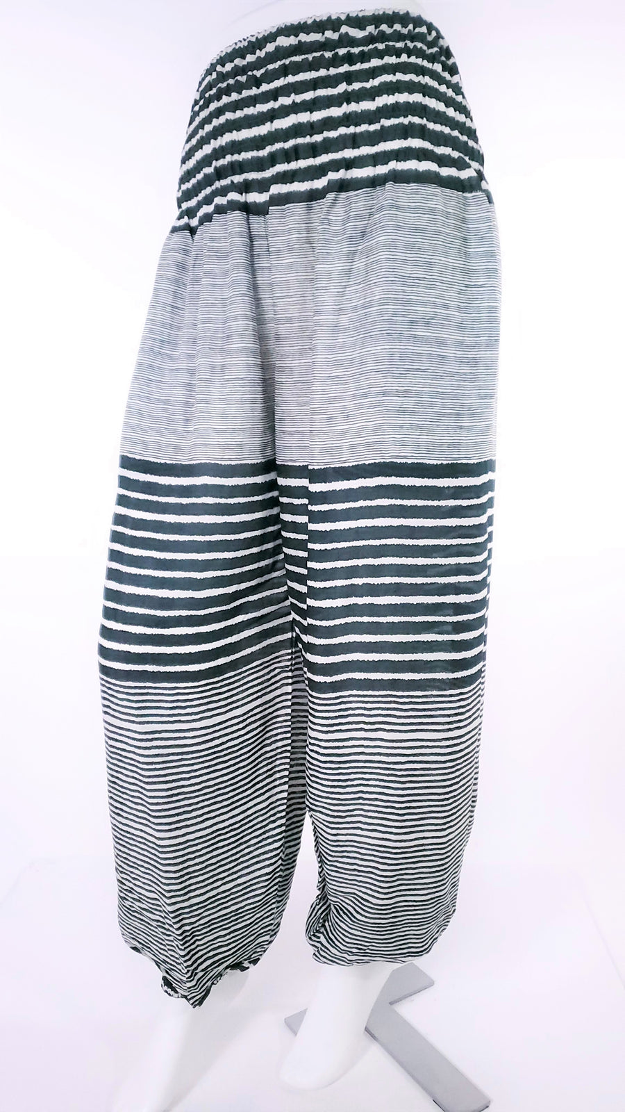 Striped Straight Leg Harem Pants In Green-The High Thai-The High Thai-Yoga Pants-Harem Pants-Hippie Clothing-San Diego