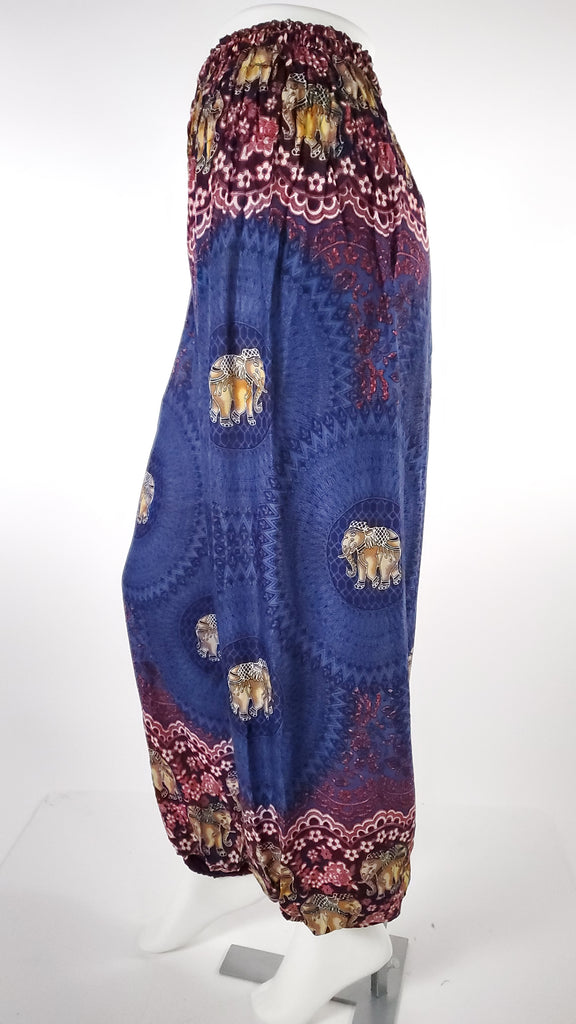 Elephant Design Straight Leg Harem Pants in Blue-The High Thai-The High Thai-Yoga Pants-Harem Pants-Hippie Clothing-San Diego