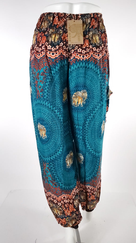 Elephant Design Straight Leg Harem Pants in Turquoise-The High Thai-The High Thai-Yoga Pants-Harem Pants-Hippie Clothing-San Diego