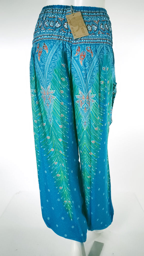 Feather Design Straight Leg Harem Pants in Blue-The High Thai-The High Thai-Yoga Pants-Harem Pants-Hippie Clothing-San Diego