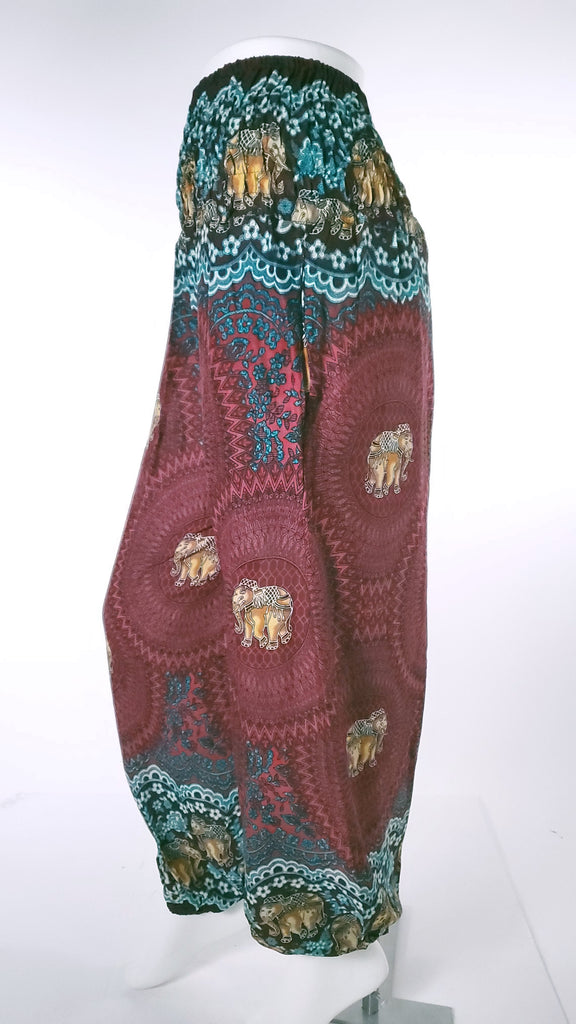 Elephant Design Straight Leg Harem Pants in Red-The High Thai-The High Thai-Yoga Pants-Harem Pants-Hippie Clothing-San Diego