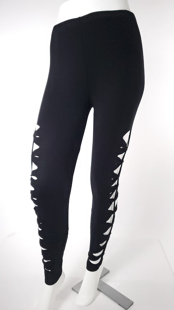 Cut Leggings in Black-The High Thai-The High Thai-Yoga Pants-Harem Pants-Hippie Clothing-San Diego