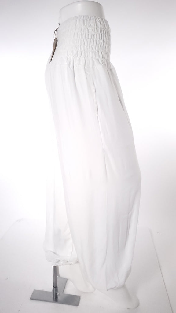 Straight Leg Harem Pants In Solid White-The High Thai-The High Thai-Yoga Pants-Harem Pants-Hippie Clothing-San Diego