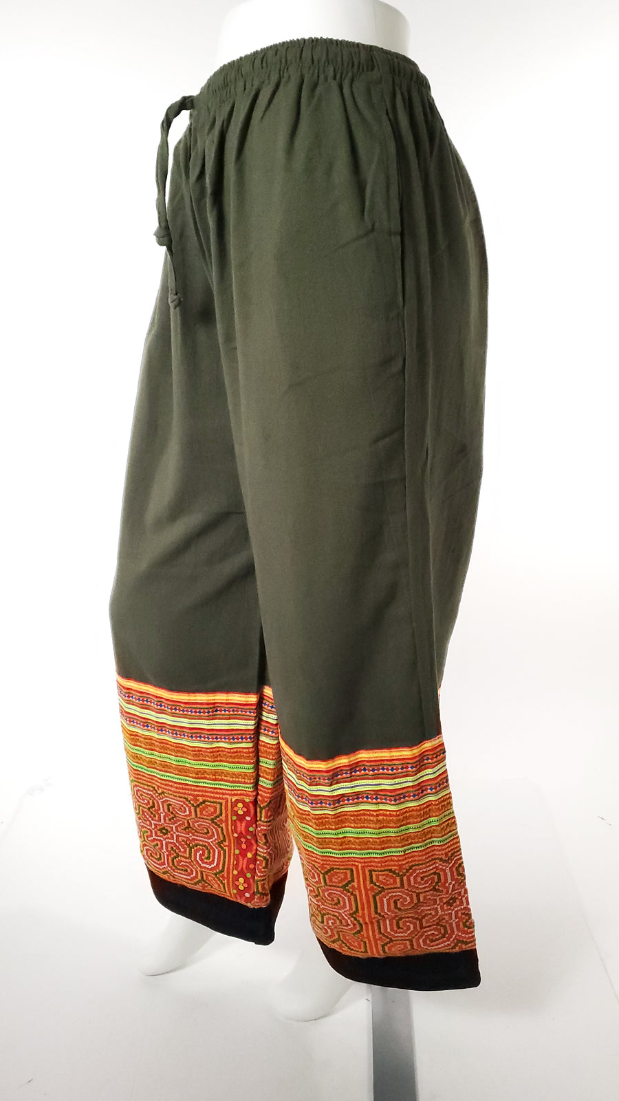 Upcycled Tribal Fabric Pants in Green-The High Thai-The High Thai-Yoga Pants-Harem Pants-Hippie Clothing-San Diego