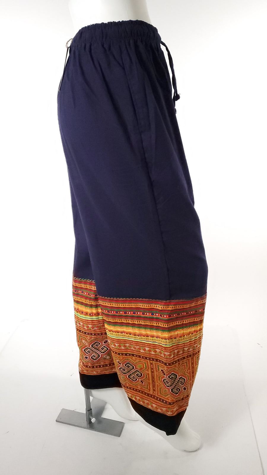 Upcycled Tribal Fabric Pants in Navy Blue-The High Thai-The High Thai-Yoga Pants-Harem Pants-Hippie Clothing-San Diego
