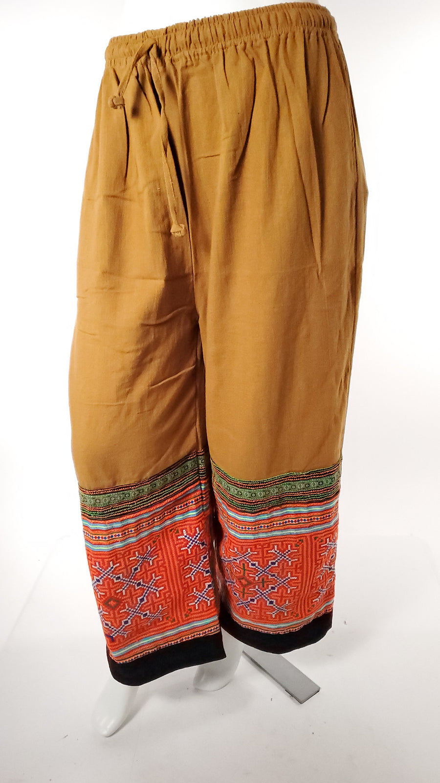 Upcycled Tribal Fabric Pants in Mustard-The High Thai-The High Thai-Yoga Pants-Harem Pants-Hippie Clothing-San Diego