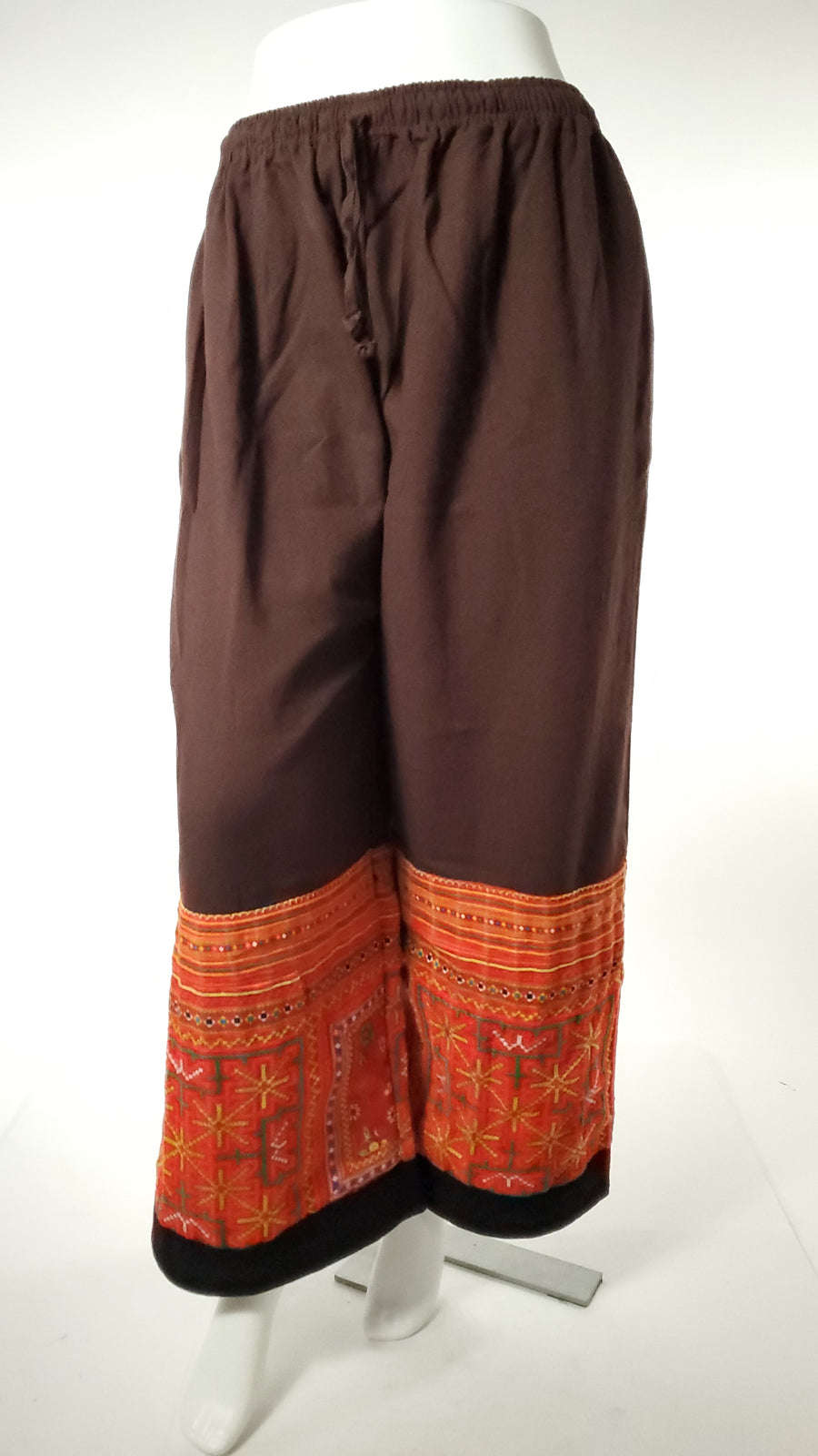 Upcycled Tribal Fabric Pants in Brown-The High Thai-The High Thai-Yoga Pants-Harem Pants-Hippie Clothing-San Diego