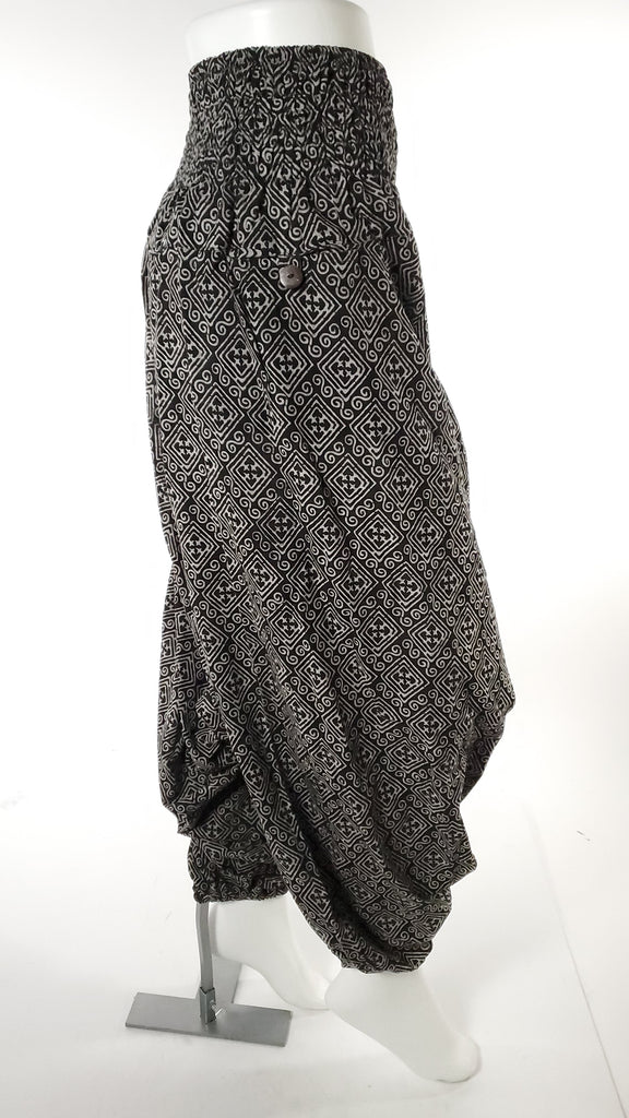 Women's Low Cut Harem Pants in Black Block Print-The High Thai-The High Thai-Yoga Pants-Harem Pants-Hippie Clothing-San Diego