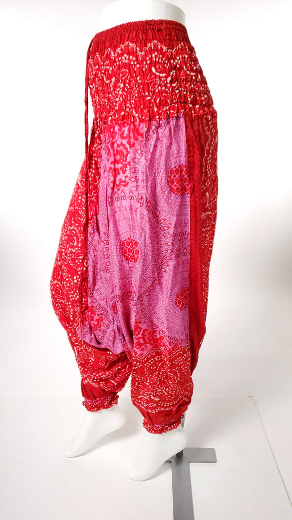 One Piece Jumper Pants in Red Mandala-The High Thai-The High Thai-Yoga Pants-Harem Pants-Hippie Clothing-San Diego