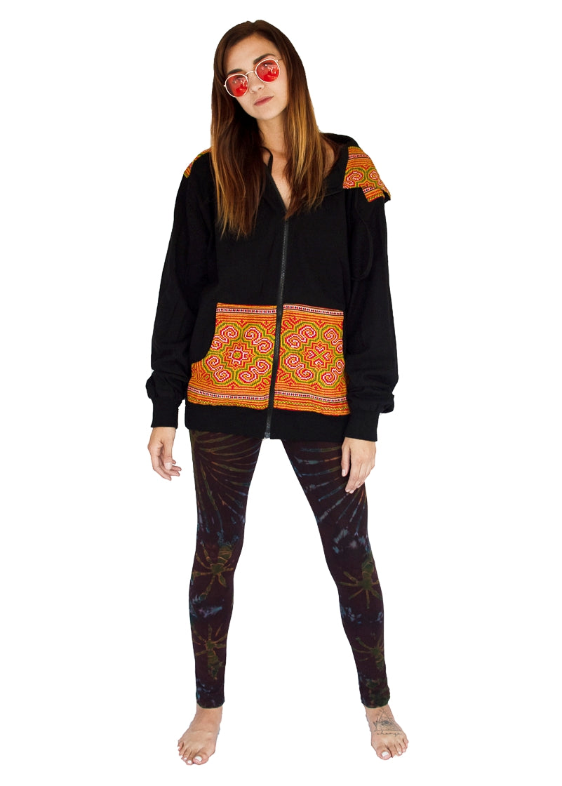 Tribal Hoody with Hmong Fabric Shoulders-The High Thai-The High Thai-Yoga Pants-Harem Pants-Hippie Clothing-San Diego