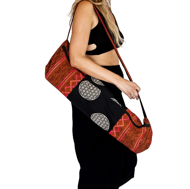 Yoga Mat Bag in Tribal Rustic Red Flower of Life Design-The High Thai-The High Thai-Yoga Pants-Harem Pants-Hippie Clothing-San Diego